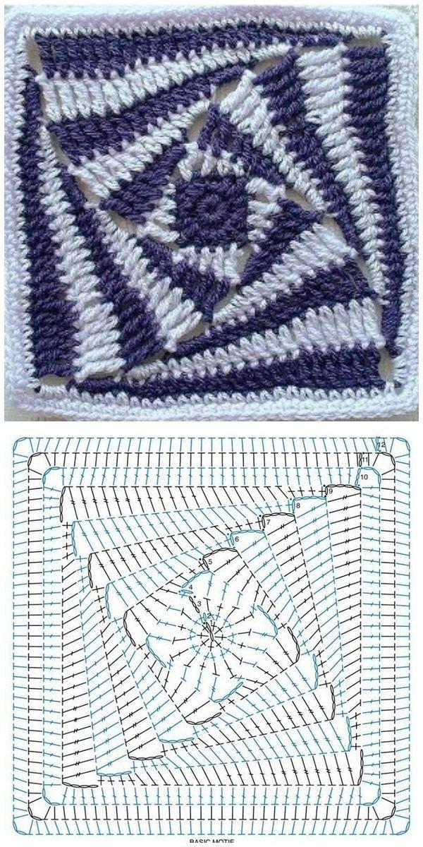 Бабушкин квадрат вязаный крючком по спирали.