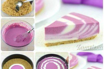 Двухцветный творожный торт. И никакой выпечки!
